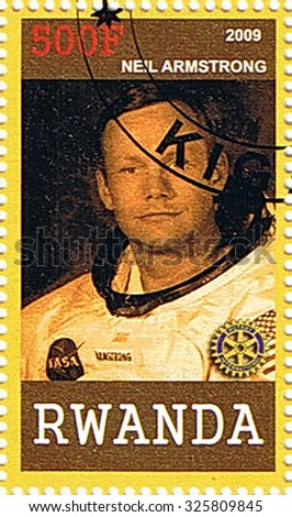RWANDA - CIRCA 2009: A stamp printed in Rwanda shows Neil Armstrong, series, circa 2009 - stock photo