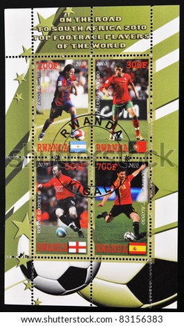 RWANDA - CIRCA 2010: A stamp printed in Rwanda shows top football players of the world, series, circa 2010 - stock photo