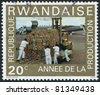 RWANDA - CIRCA 1975: A stamp printed in the Rwanda, shows the loading plane, circa 1975 - stock
