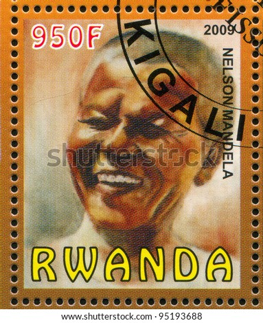 RWANDA - CIRCA 2009: stamp printed by Rwanda, shows Nelson Rolihlahla Mandela, circa 2009 - stock photo
