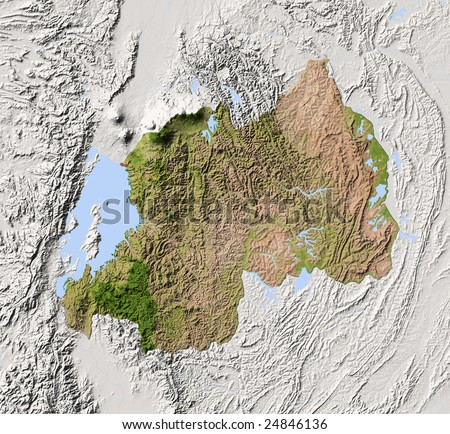 Rwanda. Shaded relief map. Surrounding territory greyed out. Colored according to vegetation. Includes clip path for the state area.
