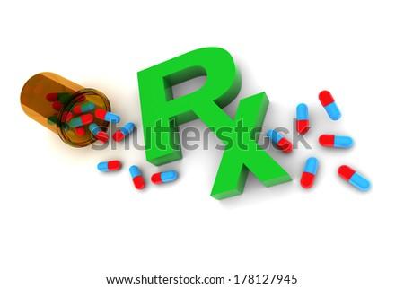 Rx Medication illustration isolated on white background - stock photo