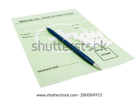 Rx paper with pills. Medical prescription concept - stock photo
