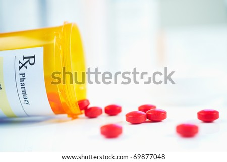 RX prescription drug bottle selective focus - stock photo