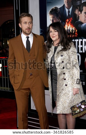 "Ryan Gosling and mom at the Los Angeles premiere of ""Gangster Squad"" held at the Grauman's Chinese Theatre in Los Angeles, USA on January 7, 2013. - stock photo"