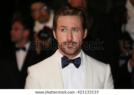 Ryan Gosling attends 'The Nice Guys' premiere during the 69th annual Cannes Film Festival at the Palais des Festivals on May 15, 2016 in Cannes, France. - stock photo