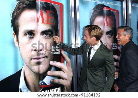"Ryan Gosling, George Clooney at the ""The Ides Of March"" Los Angeles Premiere, Academy of Motion Picture Arts and Sciences, Beverly Hills, CA. 09-27-11 - stock photo"