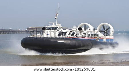 RYDE, ISLE OF WIGHT, UK - MARCH 23, 2014: the isle of wight hovercraft coming from portsmouth travelling to ryde - stock photo