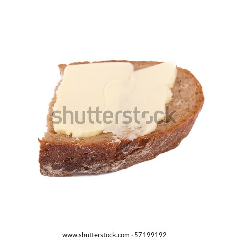 Rye bread and butter - stock photo