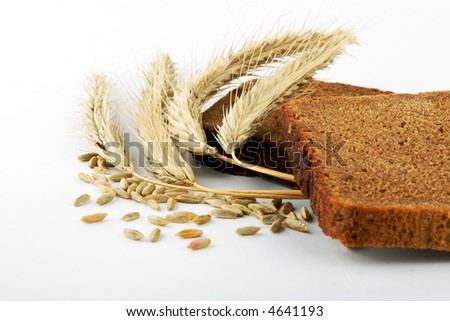 rye bread and corn ears on white - stock photo