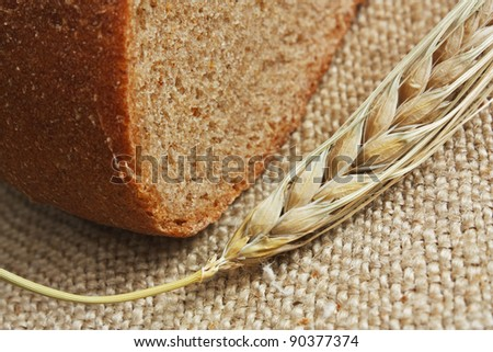 rye bread, and corn on the canvas