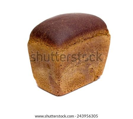rye bread (brick) on a white background - stock photo