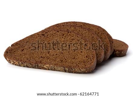 rye bread isolated on white background - stock photo