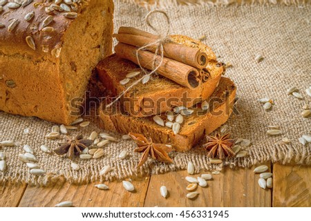 rye bread next to the sticks of cinnamon and star anise