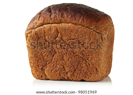 Rye bread on a white background.