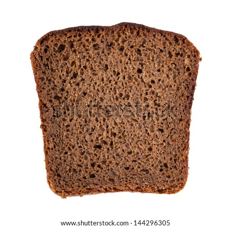 Rye bread slice isolated on white background