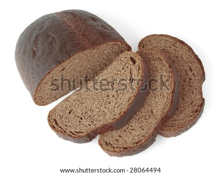 rye bread slices and half of loaf - stock photo
