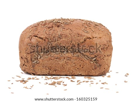 Rye bread with caraway seed. Isolated on a white background