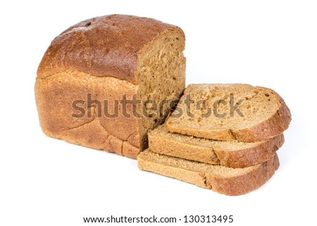 Rye bread with sliced pieces isolated on white background - stock photo