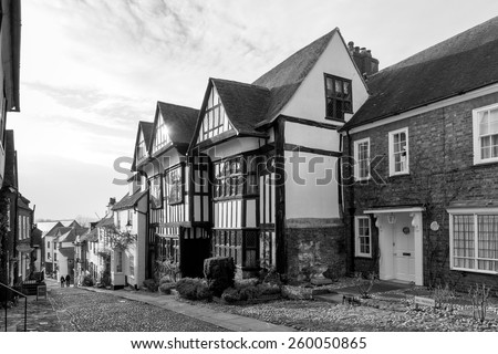 RYE, EAST SUSSEX/UK - MARCH 11 : View of Mermaid Hill in Rye East Sussex on March 11, 2015. Unidentified people.