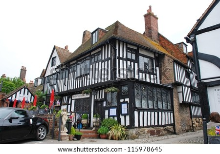 RYE, ENGLAND - JUNE 2: The historic Mermaid Inn in Mermaid Street on June 2, 2012 in Rye, East Sussex. Originally dating from the 12th Century, the current Inn was built in 1420.