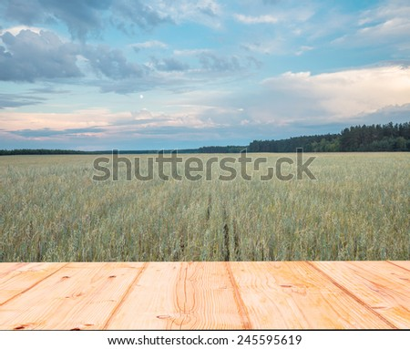 rye field and wooden floor - stock photo