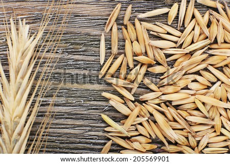 Rye grains and ears on table, close-up  - stock photo