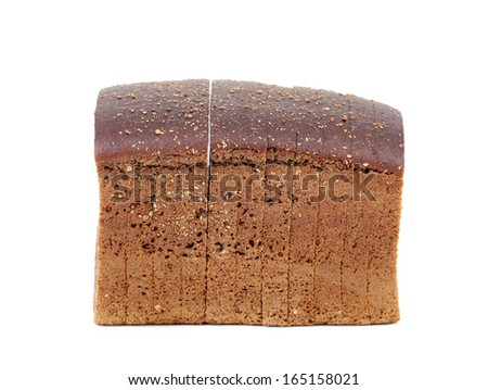 Rye sliced bread. Close up. Isolated on a white background.
