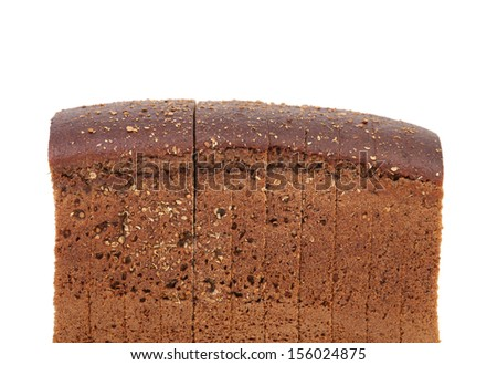 Rye sliced bread on a white background. Close up