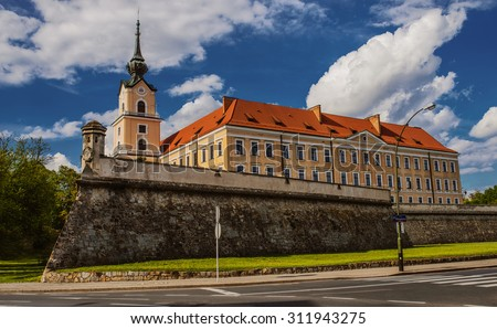 Rzeszow Castle - one of the main landmarks of Rzeszow rebuilt between 1902-1906, located on the former grounds of the castle of the House of Lubomirski. - stock photo