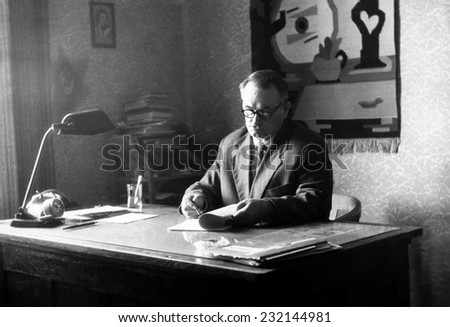 RZESZOW,POLAND - CIRCA 1955 : vintage photo of man working in his office