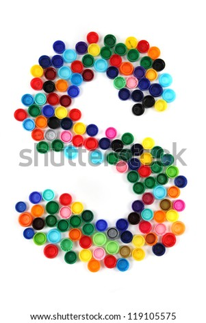 S - alphabet from the plastic caps isolated on the white background