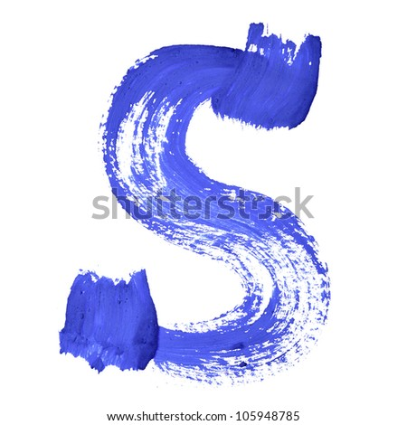 S - Blue handwritten letters over white background