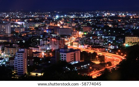 S Curve Freeway to Pattaya City, Thailand - stock photo