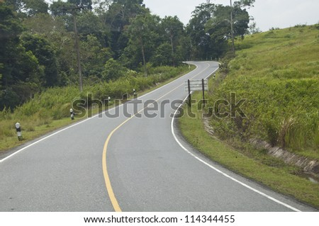 s curve road - stock photo