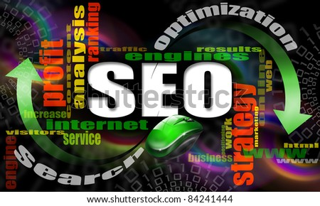 S.E.O. - search engine optimization web word cloud and mouse - stock photo