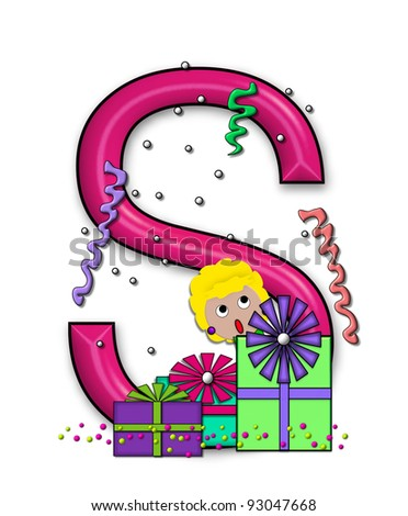 """S, in the alphabet set """"Birthday Letters"""", is surrounded by colorfully wrapped presents complete with bows.  Woman hides behind presents and peeks out pretending surprise. - stock photo"""