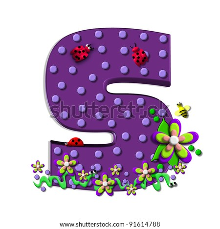 """S, in the alphabet set """"Buzzing Garden"""", is decorated with three dimensional polka dots and a three layer flower.  Purple letters are decorated with lady bugs, snakes and bees. - stock photo"""