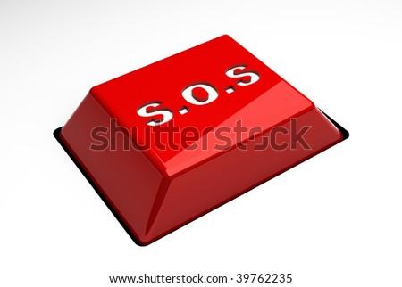 s.o.s button - stock photo