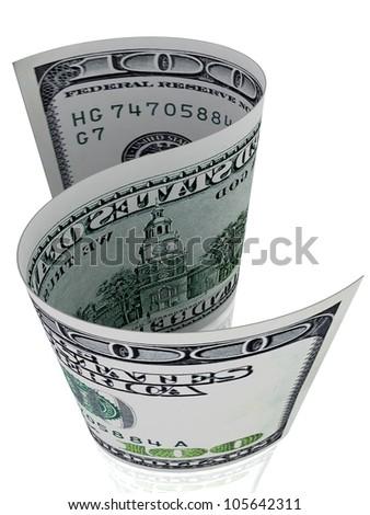 S-shape 100 dollar banknote. Dollar symbol. - stock photo