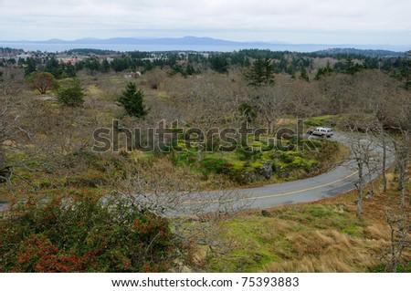 S shape road in mountain tolmie park, victoria, british columbia, canada - stock photo
