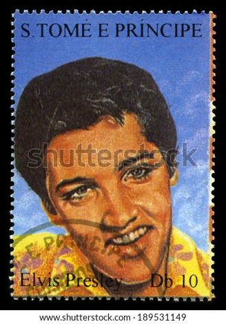 S. TOME E PRINCIPE - CIRCA 2005: Postage Stamp from S. Tome E Principe featuring a portrait of legendary Rock and Roll Performer Elvis Presley, circa 2005. - stock photo