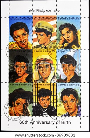S.TOME E PRINCIPE - CIRCA 2005: stamp printed in S.Tome E Principe showing Elvis Presley - rock and roll singer, serie,  circa 2005 - stock photo