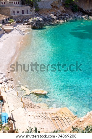 Sa Calobra beach from high point of view in Escorca Mallorca in Balearic islands