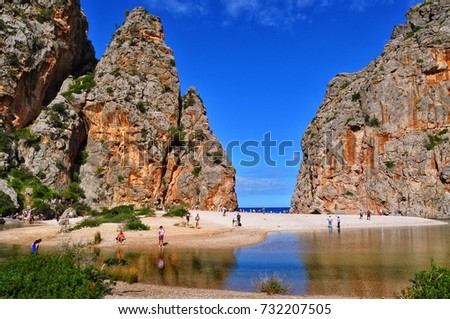 sa calobra beach on mallorca balearic island in spain