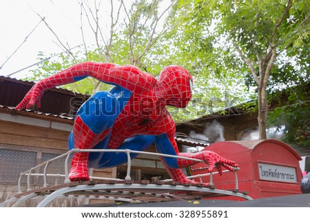 SA KAEO, THAILAND-OCTOBER 1, 2015 :Spiderman model decoration of the restaurant in Sa Kaeo, thailand