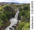 Saar Waterfalls at the Golan Heights (Israel). - stock photo