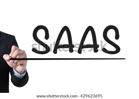 SAAS Businessman hand writing with black marker on white background - stock photo