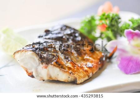 saba steak or blue mackerel steak - stock photo