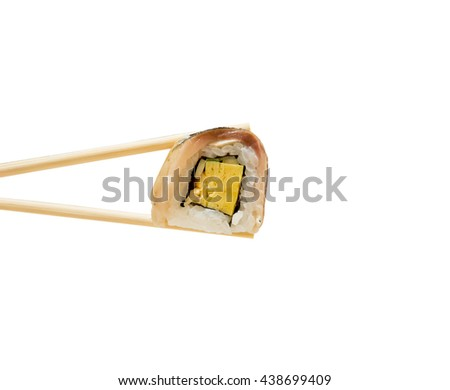 Saba sushi roll in chopsticks isolated on white background